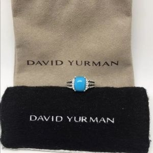 David Yurman Wheaton Ring W/ Turquoise & Diamonds